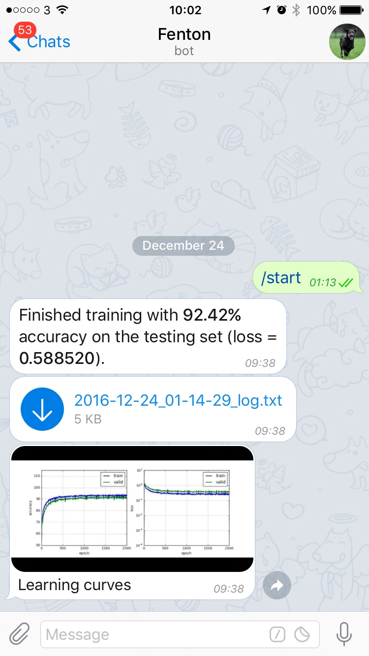 Training report in your chat.